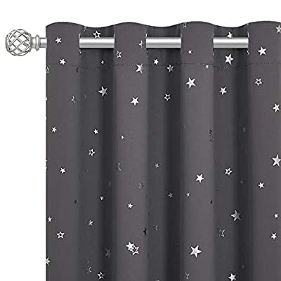 RYB HOME Silver Star Foil Printed Grommet Top Blackout Curtains, 52 inches Wide