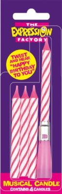 Musical Birthday Cake Candle, Pink