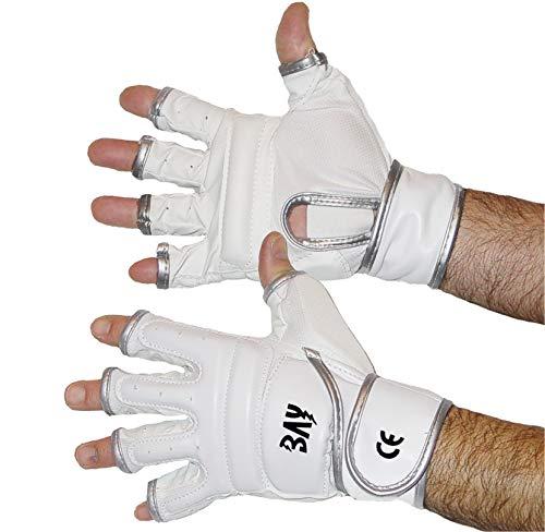 BAY® FIT weiß/silber Größe M - Leder-PU, Boxhandschuhe Sandsackhandschuhe