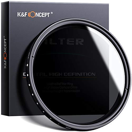 K&F Concept Filtro Variable ND2-ND400 para Objetivo 67mm con Funda (9 Pasos)
