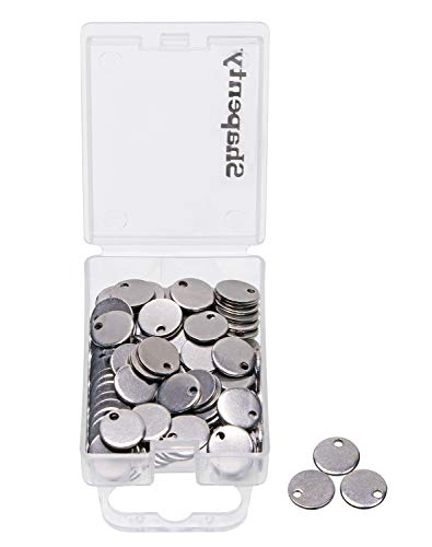 Shapenty Small Round Stainless Steel Flat Blank Stamping Tag Pendants Mini Discs for Bracelet Earring Necklace Chain Charms Jewelry Making and Specialized Photo Number Alphabet Stamping, 100PCS (8MM)