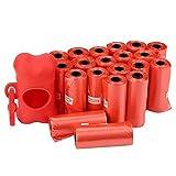 Smandy 20 Rollos Bolsas de Basura para Mascotas Perro de plástico Grueso y Fuerte Bolsas de Caca de Basura Bolsa de Limpieza de Basura con Forma de Hueso Dispensador de Bolsa(Rojo)