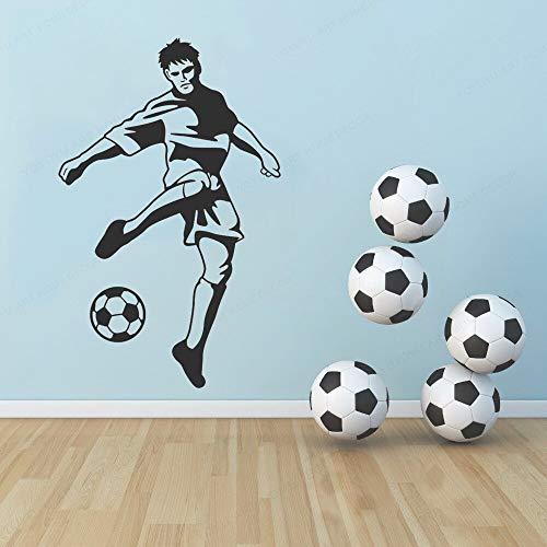 wZUN Geschnitzte Fußballspieler Wandaufkleber Home Decoration Sports Theme Decals 26X42cm