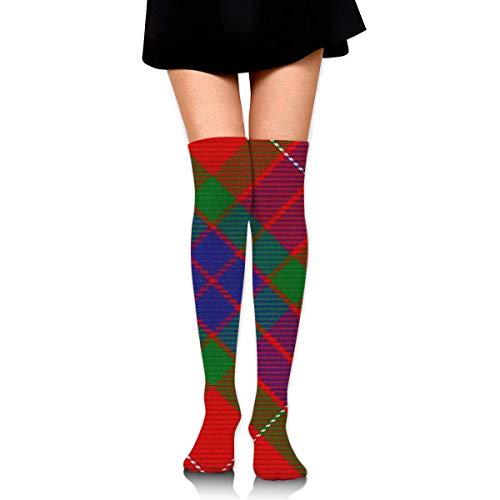 Hdadwy Estilo escocés Clan Fraser Tartan Plaid Mujer Damas Mujer Chica Adolescente Niño Juventud Pierna Alto Medio muslo Rodilla alta Tubo largo Sobre la rodilla Medias de disfraces Regalos Ropa Vesti