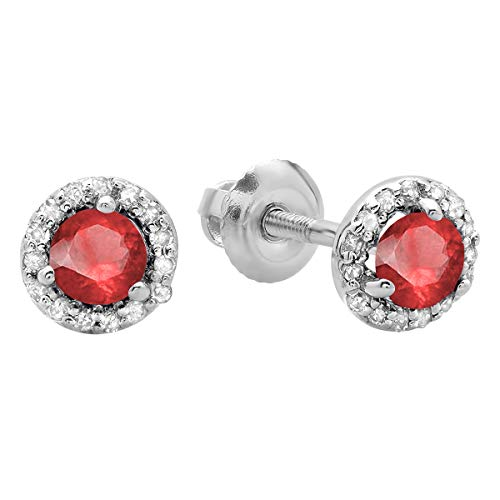 Dazzlingrock Collection 10K Round Ruby & White Diamond Ladies Halo Style Stud Earrings, White Gold