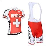 URPRU Herren Pro Rennen Team BMC MTB Radbekleidung Radtrikot Kurzarm und Tr?gerhose Anzug Bib Shorts Suit-E_2X-Large