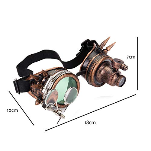 DODOING Victorian Style Spiked Steampunk Goggles Double Ocular Loupe Welding Punk Gothic Glasses steampunk buy now online