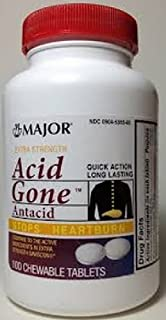Major Acid Gone, Extra Strength, Chewable, 105-160mg, 100ct