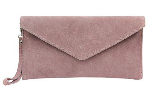 AMBRA Moda Damen Wildleder Envelope Clutch Handschlaufe Handtasche Schultertasche Unterarmtasche Damentasche Veloursleder WL801 (Altrosa Dunkel)