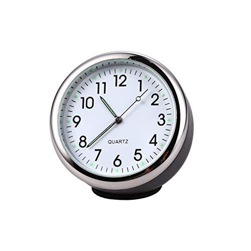 Garneck Auto Uhr Leuchtend Rund Quarz Analog Armaturenbrett Uhr Universal Tasche Mini Tisch Timer Auto Interieur Ornament Schwarz Weiß