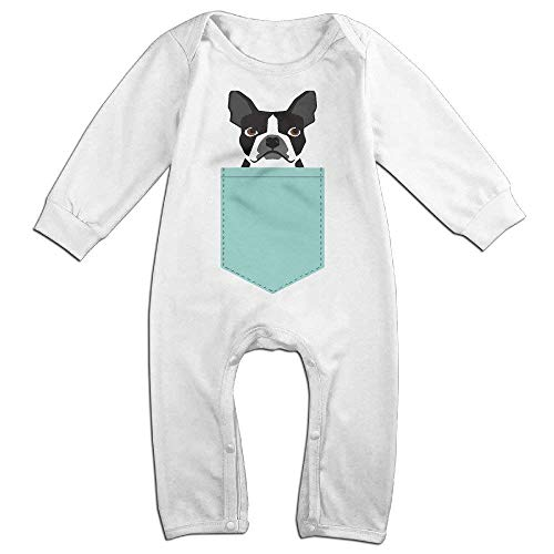 Price comparison product image TOOTHBRUSH Infant Boston Terrier and French Bulldog Unisex Baby Onesie Jumpsuit Long-Sleeve White 6 M