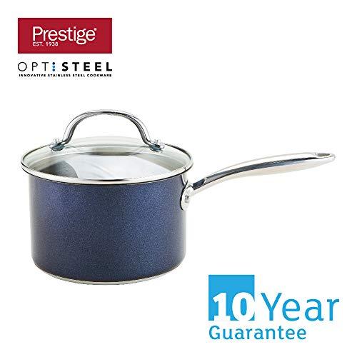 Prestige Optisteel cazo con Tapa, cazo de Alto Rendimiento con Tapa, batería de Cocina de Acero Inoxidable para Todo Tipo de cocinas y fogones, cazos medianos de 18 cm, Azul