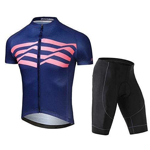 OJKYK - Maillot de ciclismo para hombre, manga corta, 3 bolsillos, camiseta de bicicleta y pantalones cortos acolchados de gel 3D, secado rápido, transpirable, medium