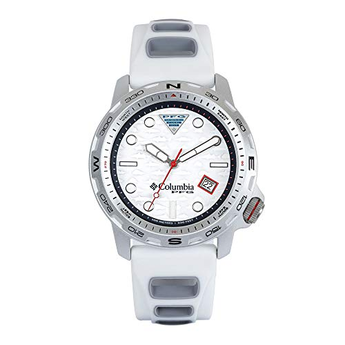 Columbia Aluminum Quartz Sport Watch with Silicone Strap, White, 5 (Model: PFG02-002)