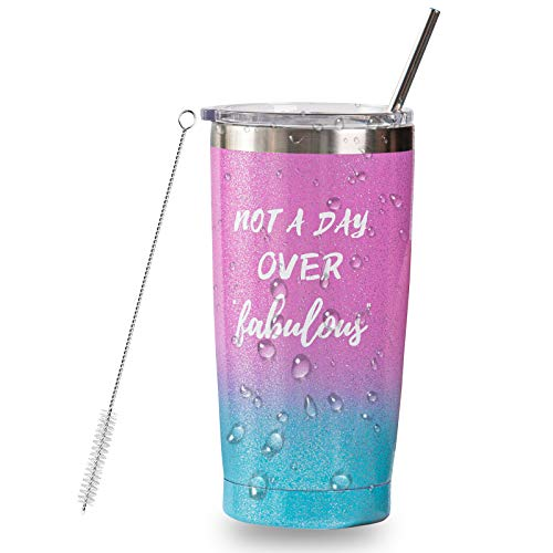Quarantined Birthday 2020,20 Oz Stainless Steel Insulated Tumbler with Lid Straw 21st 30th 40th 50th 60th Birthday Gifts for women mom sister grandma woman female best friend Gift Ideas-Glitter Gloss