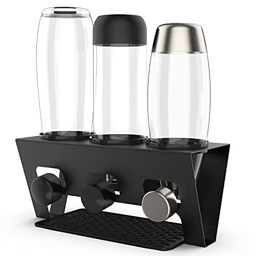 Rainsworth Flaschenhalter kompatibel mit SodaStream Duo und gängige Wasserflaschen, 3er Edelstahl Abtropfhalter, Abtropfständer Abtropfgestell inkl. Silikonschutzringe, Abtropfmatte und Deckelhalter