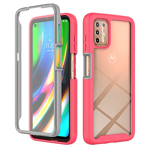 """Designed for Moto G9 Plus Case Built in Screen Protector,Full Body Hard Platic Heavy Drop Protective Dustproof Anti-Drop Shockproof Soft Dual Layer Rugged Bumper Cover for Motorola G9 Plus 6.81"""""""