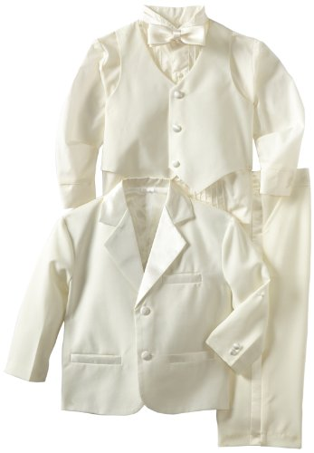 Joey Couture Boys Little Tuxedo No Tail Suit, Off White, 4