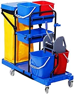 Commercial Traditional Cleaning Janitorial 3-Shelf Cart, Wheeled with Gallon Zippered Yellow Vinyl Bag 4 buckets and 1 wri...