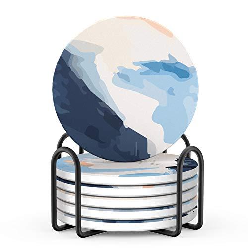 LIFVER Untersetzer Gläser, Getränke-Untersetzer, Saugfähig Untersetzer Set mit Korkboden, Keramik Untersetzer im abstrakten Stil mit Halter, tolles Einweihungsgeschenk, 4 inch