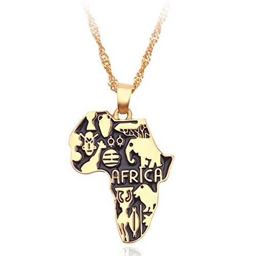 Collares colgantes de mapa de pintura de arte africano de color dorado mapas africanos joyería de cadena de marea para mujeres hombres accesorios de gargantilla de cuello
