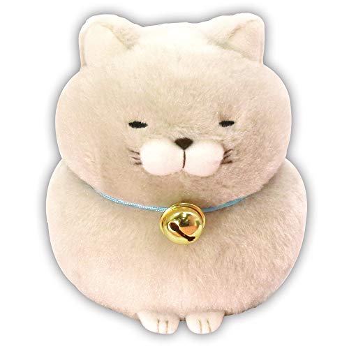 Amuse Higemanjyu Series Plush Cat Doll Standard Size (5'x 4'x 5') Japan Import Stuffed Animal Toy Japanese Popular Cat Cute Fluffy Comfortable Doll Plush (Gray-Hotoke, Standard)