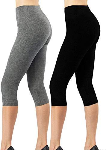 4How Kurze Sport Leggins Damen Capri Leggings 3/4 Länge Dreiviertel Hose Fitness Traininghose Yogahose Basic Leggings Baumwolle Blickdicht schwarz+grau M