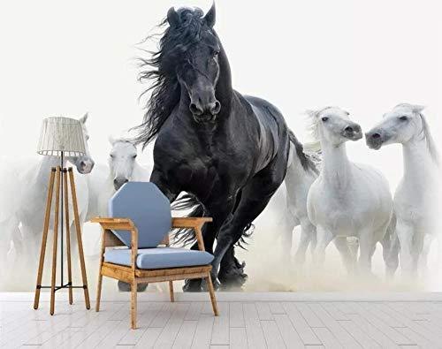 Murando Fotomurales Papel Pintado Moderno Minimalista Mercedes Caballo Blanco Y Negro Pared Salón Decoración Papel Pintado Mural 250 * 175 Cm