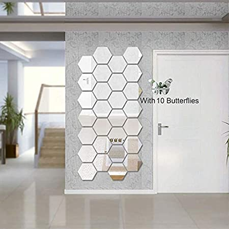 Atulya Arts 3D Acrylic Stickers Mirror Silver Hexagon Wall Sticker with 10 Butterflies Decorative Sticker - (Pack of 28) (10.5 cm X 12.1 cm) for Home Living Room Bedroom Office Décor