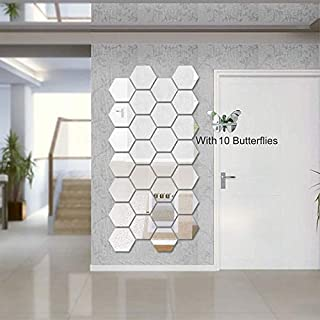 Atulya Arts 3D Hexagon Acrylic Mirror Wall Sticker (Pack of 28) with 10 Butterfly Decorative Mirror Wall Stickers Set for ...
