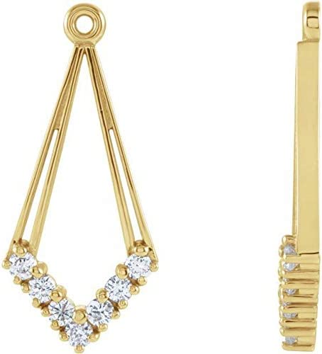 14K Yellow Gold 1/4 CTW Diamond Earring Jackets Geometric Earring Jackets