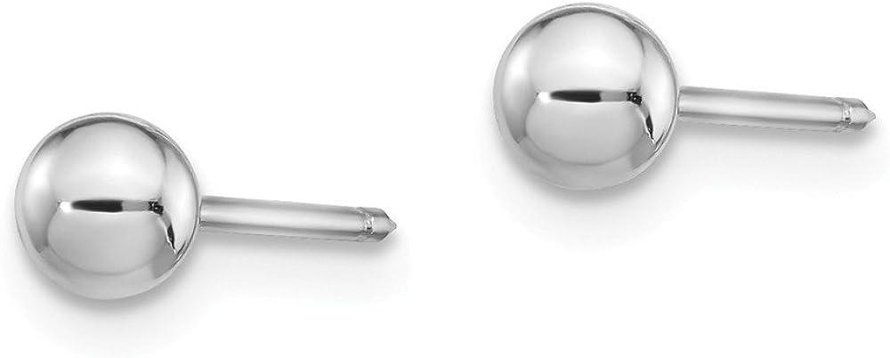 14k White Gold 4mm Ball Post Studs Ear Piercing Earrings 4mm