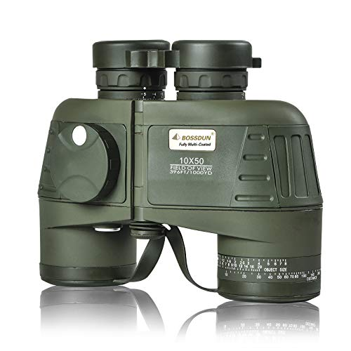 Prismáticos Militares Marinos para Adultos, Prismáticos Impermeables de 10 x 50 con Brújula Telémetro para Navegación, Caza y Observación de Aves
