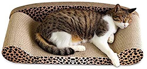Rascador de gatos de cartón para rascar con estampado de leopardo y superior y aspecto elegante respetuoso con el medio ambiente Rascador de gatos para proteger el suelo de los muebles