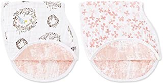 Aden and Anais Birdsong Classic Muslin Burpy Bib, Pink, White, 2 Count