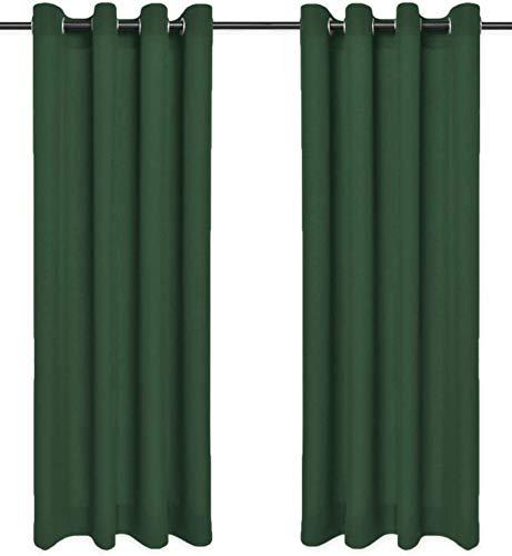 Rollmayer Vorhänge mit Ösen Kollektion Vivid (Smaragdgrün 46, 135x240 cm - BxH) Blickdicht Uni einfarbig Gardinen Schal für Schlafzimmer Kinderzimmer Wohnzimmer
