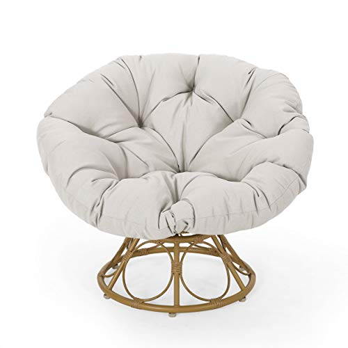 Christopher Knight Home 313036 Nicholas Outdoor Papasan Swivel Chair with Water Resistant Cushion, Light Brown and Beige