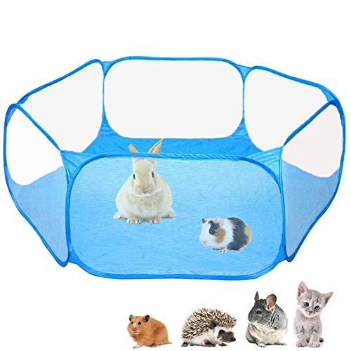 Kleine dieren kooi Tent Transparant Huisdier Playpen Opvouwbare Indoor Oefening Hek voor Guinea Varken, Konijnen, Hamster, Bunny Blauw