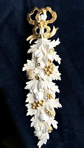 Artissimo Wanddeko,Wandrelief Antik in Barockstil, Weiß-Gold, Wandbehang, Ornament, Türbogen, Spiegeldeko, Weihnachtsdeko 60 x18