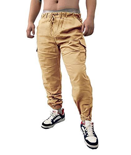 SOMTHRON Hombre Cinturón de Cintura elástico Pantalones de chándal de algodón Largo Jogging Pantalones de Carga Deportiva de Talla Grande Pantalones Cortos con Bolsillos Pantalones (KH-M)