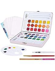 FORMIZON Set de Pinturas de Acuarela, Acuarelas Profesionales por 36 Colores, 1 Pincel de Acuarela, 1 Pincel de Tanque de Agua, 8 Papel de Acuarela, 1 Lápiz y 1 Paleta para Acuarelas (Rosado)