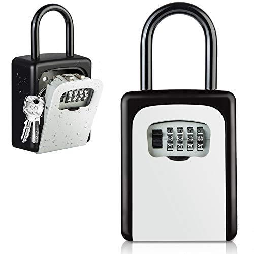 Diyife Schlüsseltresor mit Haken, [Upgrade] [Wandmontage] Wetterfest Kombinationsschlüssel mit 4-stelligem Zahlencode, Schlüsselbox für Haus, Garagen, Schule Ersatz Haus Schlüssel