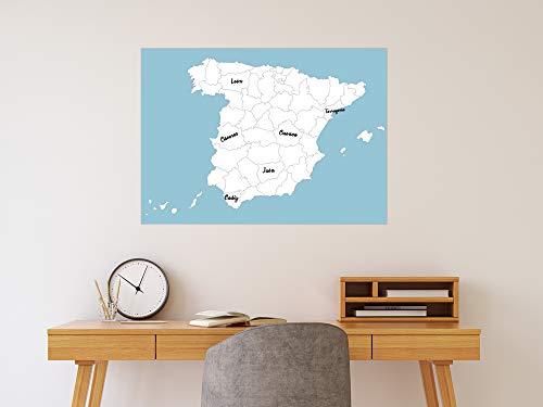 Oedim Decoración Pared Vinilo Adhesivo Pizarra Vinilo Laminado Brillo Tipo Veleda Mapa Provincias España | 70 x 50 cm | Vinilo Ecológico | Protección, Decoración Pared Cocina |