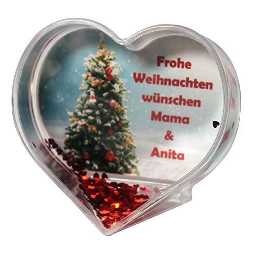 Herz Schneekugel Weihnachtsbaum mit eigenem Text/Grußtext zu Weihnachten