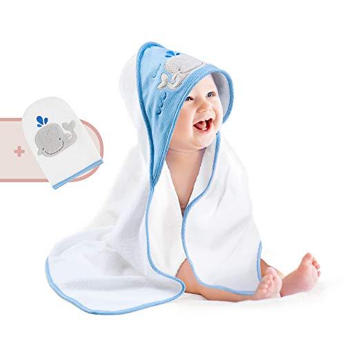 Pigubear® Premium Baby Kapuzenhandtuch und Waschlappen Set, ÖKOTEX, hochwertig in blau bestickt für Junge, 100% Baumwolle, perfektes Geschenk zur Geburt