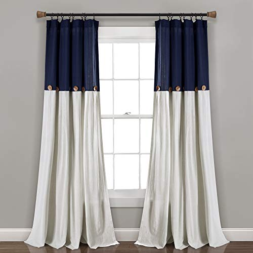 "Lush Decor, Navy/White Linen Button Window Curtain Single Panel, 84"" x 40"", 84""x 40"""
