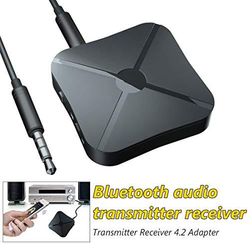 Desconocido Adaptador Bluetooth Transmisor Receptor, 2 en 1 Bluetooth Inalámbrico Portátil, RCA & 3.5mm AUX, Baja Latencia Audio Estéreo para PC, Audio, Música Inalámbrico en Coche