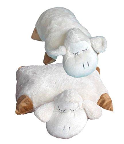 Inware 6296 - Schmusekissen Schaf Sleepy, creme, 35 x 25 cm, Kuschelkissen mit Klettverschluss, Babykissen, Kinderkissen