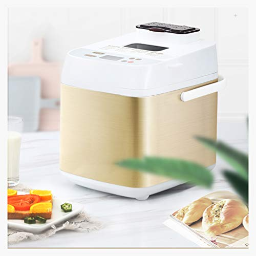 MDEOH Custom Breadmaker 2 Lbs 19 Menus Gluten Free Whole Wheat Stainless Steel Bread Maker Home Bakery Menu Set 500W, White