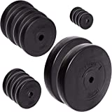 C.P. Sports, dischi per manubrio da 30/31 mm, set da 57 kg e 114 kg, in plastica, per pesistica, fitness e bodybuilding, 57 kg – Set di dischi, 30 mm